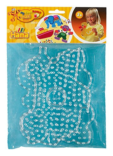Hama Perlen 8258 Stiftplatten 2er Set für Maxi Bügelperlen mit Durchmesser 10 mm, Motive Schmetterling und Brummi in transparent, kreativer Bastelspaß für Groß und Klein
