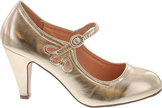 27935f7044d Chase   Chloe Kimmy-21 Women s Round Toe Pierced Mid Heel Mary Jane Style  Dress