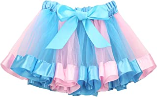 BOSOWOS Rainbow Tutu Skirt Colorful Satin Dress Pastel Unicorn Costumes for Toddler Baby Little Kids Girl