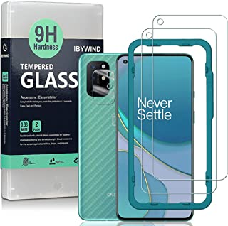 Ibywind Screen Protector for OnePlus 8T [Pack of 2] with Camera Lens Protector,Back Carbon Fiber Skin Protector,Including ...