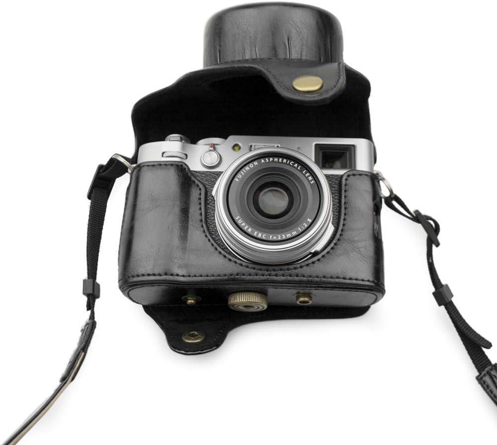 MUZIRI KINOKOO /Étui de protection pour appareil photo Fujifilm X100V avec bandouli/ère Noir