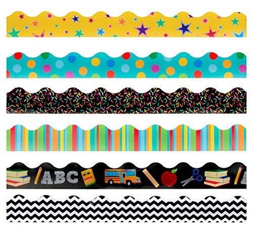 Bulletin Borders - 6 Stück Pinnwand-Bordüren, Schul-Motiv, dekorative Trimmer, Bordüre für Klassenzimmer, Schule geometrisches muster