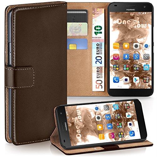 moex Premium Book-Hülle Handytasche kompatibel mit Huawei Ascend G7 | Handyhülle mit Kartenfach & Ständer - 360 Grad Schutz Handy Tasche, Dunkel-Braun
