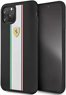 CG Mobile Ferrari Fespihcn65Na On Track & Stripes Silicon Case for iPhone Pro Max (Black)