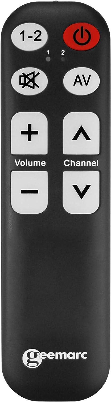 Geemarc Tv 5 Blk Lernfähige Universalfernbedienung Mit Großer Schrift Und Tasten Für Bis Zu Zwei Geräte Schwarz