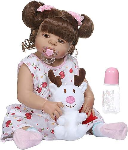 bulingLU - 22in Nette Realistische Reborn Puppe Weiße Volle Silikon Vinyl Neugeborenen mädchen Lebensechte Handgemachte Spielzeug Für Kinder Geburtstag