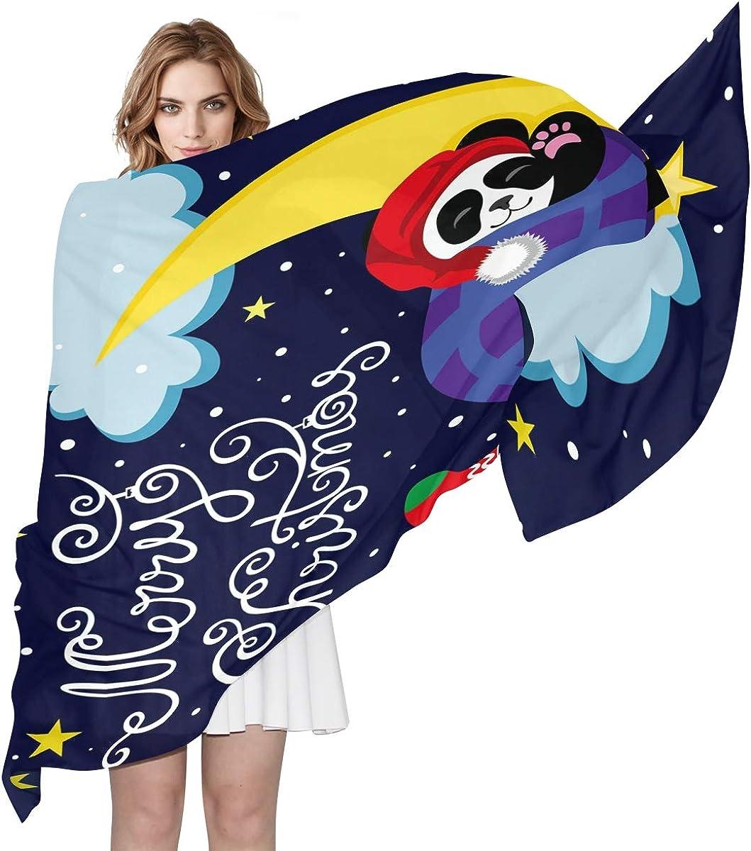 XLING Fashion Scarf Merry Christmas Animal Panda Star Long Lightweight Sunscreen Scarf Shawl Wrap Muffler Neckerchief for Women Men
