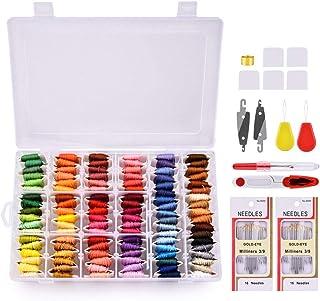 MS.DEAR Stickgarn Embroidery Floss, Stickerei Starter Kit mit Organizer Aufbewahrungsbox- 108 Farben Baumwollfaden und Kreuzstich Werkzeugsatz- 148 Stück