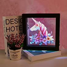 Unicorn LED Luminous Wall Hanging 3D Magic Night Lamp Photo Frame Lamp Unicorn Gift Party Supplies USB/Battery Opearted Lamp Living Room Bedroom Birthday Party Gifts (Warm White)