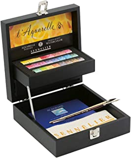 Sennelier French Artist Watercolor Set Featured in an Elegant Black Wooden Box, 24 Aquarelle Watercolor Half Pans with 2 Brushes, 1 Small Watercolor Pad and Sennelier Cloth