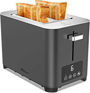 BBday Toaster 2 Slice,ONE Touch LCD Display, Stainless Steel Toaster with Extra Wide Slot, Bagel/Defrost/Cancel Function,6 Shade Settings,Removable Slide Out Crumb Tray,850W,Grey