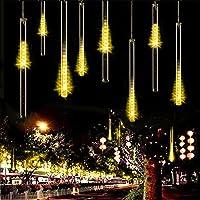 Lluvia de Meteoros Luces,KINGCOO Impermeable 360LED Solar Tubo de Luces Guirnalda de Luzs Manguera de Luces Decorativas Cadena para Jardín Fiesta Navidad Árbol Navidad (Blanco cálido)