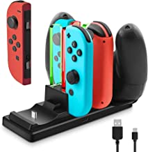 Controller Charger for Nintendo Switch, 6 in 1 Charging Station Stand Dock for Nintendo Joy-Con and Pro Controllers with Individual LEDs Indicator and Type C USB Charging Cable, Black