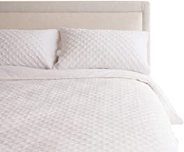 Canningvale Velluto Velvet Queen Embroidered Reversible Quilt Cover Set Carrara White Bedroom