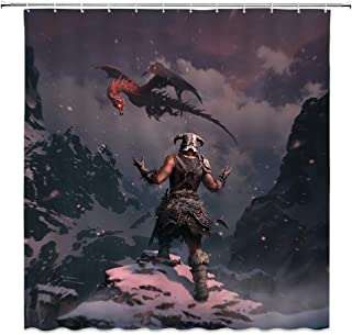 BCNEW Warrior Shower Curtain Decor Snow Mountain Cliff Dragon Bathroom Curtain Waterproof Polyester Fabric Machine Washable with Hooks 70 x 70 Inches