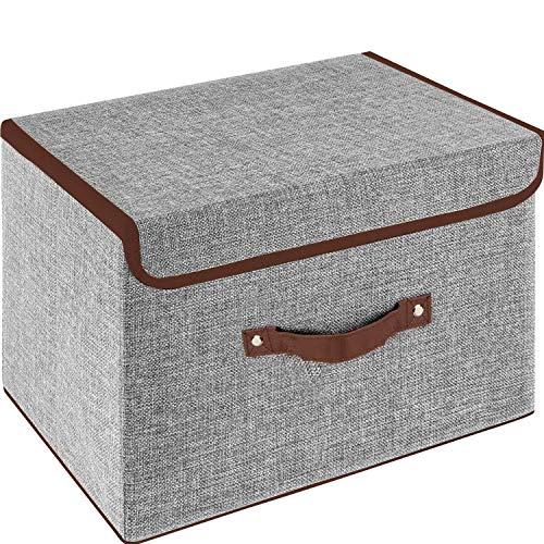 Owill Faltbare Aufbewahrungsboxen mit Deckel, Stoff-Aufbewahrungswürfel mit Griffen, für Zuhause, Büro, 24,9 x 19,1 x 16 cm (klein/1 Stück, grau)