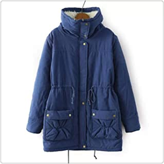 Queixiw Winter Coat Women Military Outwear Medium-Long Wadded Hooded Snow Parka