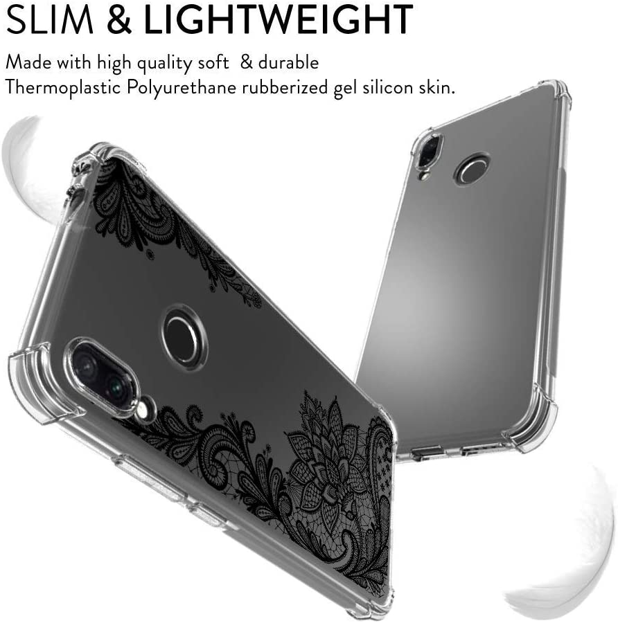 Oihxse Transparent Coque pour Xiaomi Redmi S2/Y2 Souple TPU Silicone Protection Etui Air Cushion [Shock-Absorption] [Anti-Rayures] Fleurs Motif Housse Bumper (B18) B4