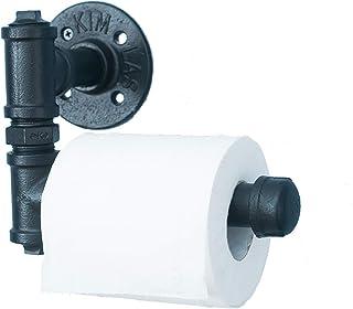 vintage industriële pijp toiletpapierhouder - wandmontage retro toiletrolhouder, badkamer accessoires, zwart