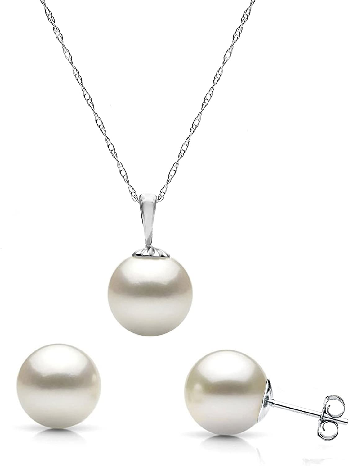La Regis Jewelry White Cultured Japanese Akoya Pearl Pendant Necklace and Stud Earrings 14K Gold