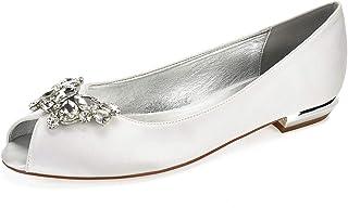 cfbc04d529 Charmstep Mujeres Peep Toe Rhinestones Bailarina plana Satén Zapatos de Boda  5049-58