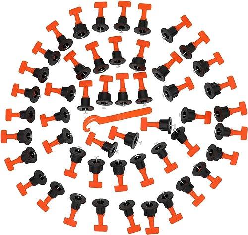 100pcs Réutilisable Niveleur de Carrelage avec Clé,Kit de système de nivellement de carrelage, outil de bricolage pou...