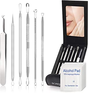 Blackhead Remover kit,Bedace Pimple Popper Tool Kit,6 PCS Stainless Tweezers Kit With A Leather Bag And 6 pcs Disinfectant Cotton.