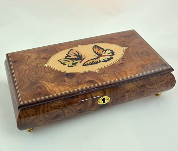 Amazing Music Box Made In Italy Sorrento Inlaid Butterflies Inlay Music Box Clair De Lune Sankyo 18 Notes