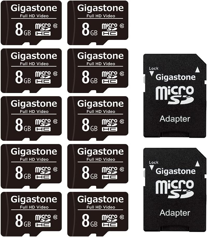 Gigastone 8GB 10-Pack Micro SD Card, Full HD Video, Surveillance Security Cam Action Camera Drone, 80MB/s Micro SDHC Class 10