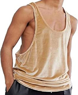 374a565cda943 Andopa Mens Velour Loose Summer Active Pure Colour Tank Top Muscle Shirt