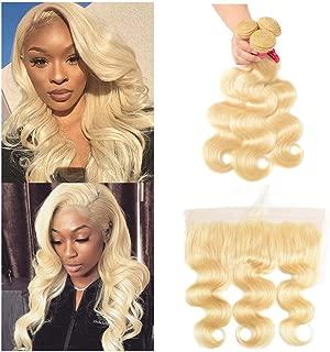 613 Bundles with Frontal Brazilian Body Wave 3 Bundles with Frontal Remy Human Hair Blonde Bundles with Frontal (18 20 22+16'', 613#)