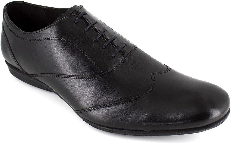 J.Bradford Man Black Leather shoes Richelieu JB-OLIVIO