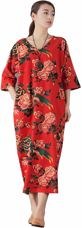 YUHEYUHE Women's Casual Loose Soft Summer Retro Maxi Linen Cotton Dresses