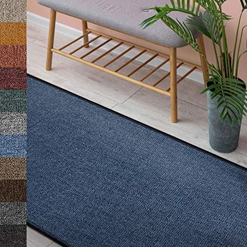 Alfombra London   alfombra de salón o camino para cocina, pasillo y sala de estar   resistente y fácil de limpiar   11 colores y muchos tamaños (67 x 100 cm, azul oscuro 84)