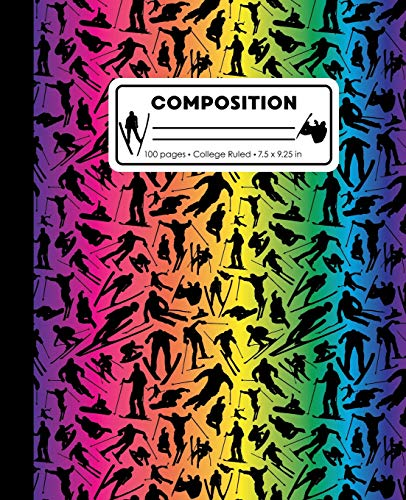 Composition: College Ruled Writing Notebook, Rainbow Ski Snowboard Boy Pattern Marbled Blank Lined Book
