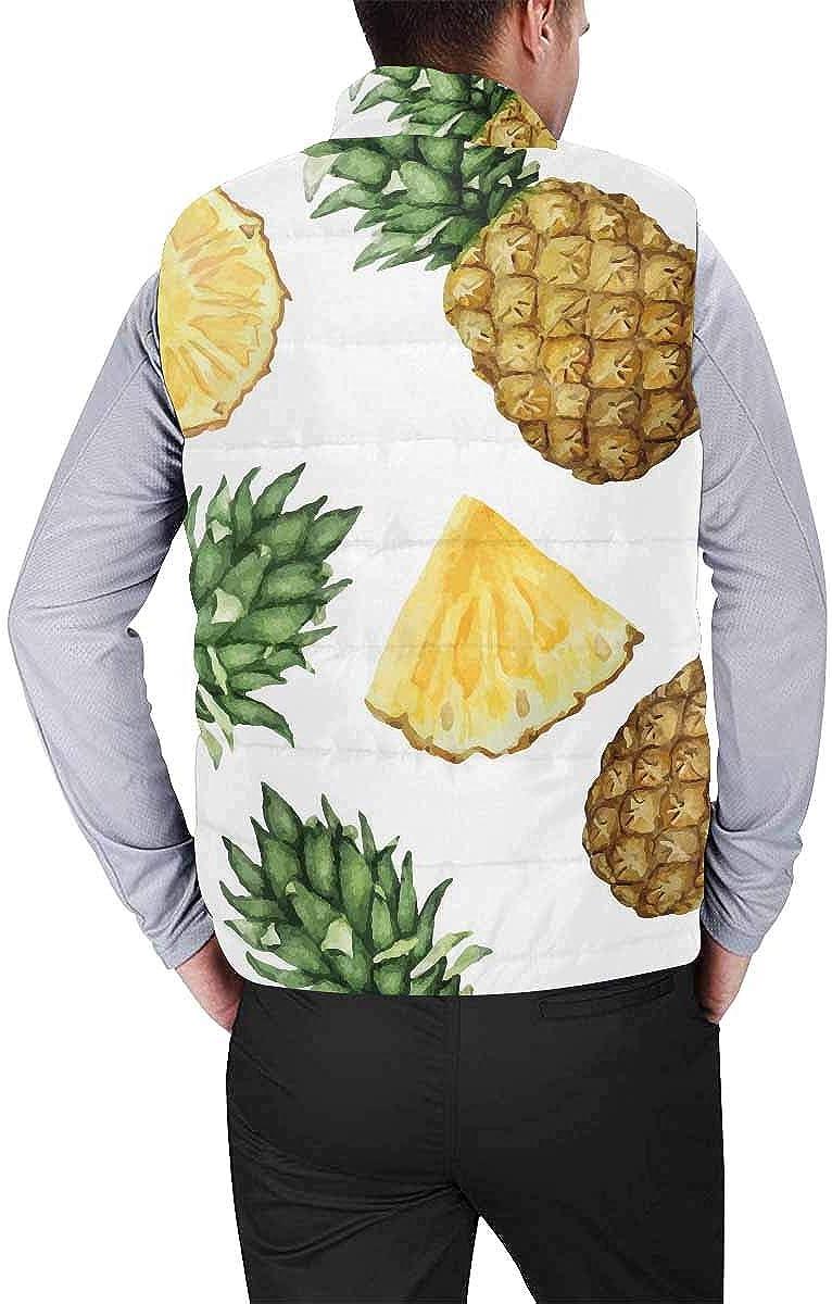 InterestPrint Men's Full-Zip Padded Vest Jacket for Outdoor Activities Watercolor Pineapples L