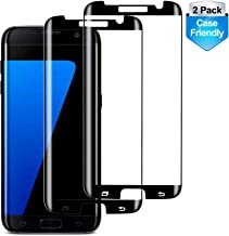 RUXELY S7 Edge Screen Protector (2 Pack), Case-Friendly Tempered Glass,Anti-Scratch,Anti-Bubble,9H Hardness,HD Clear Protective Glass for Samsung Galaxy S7 Edge(Black)