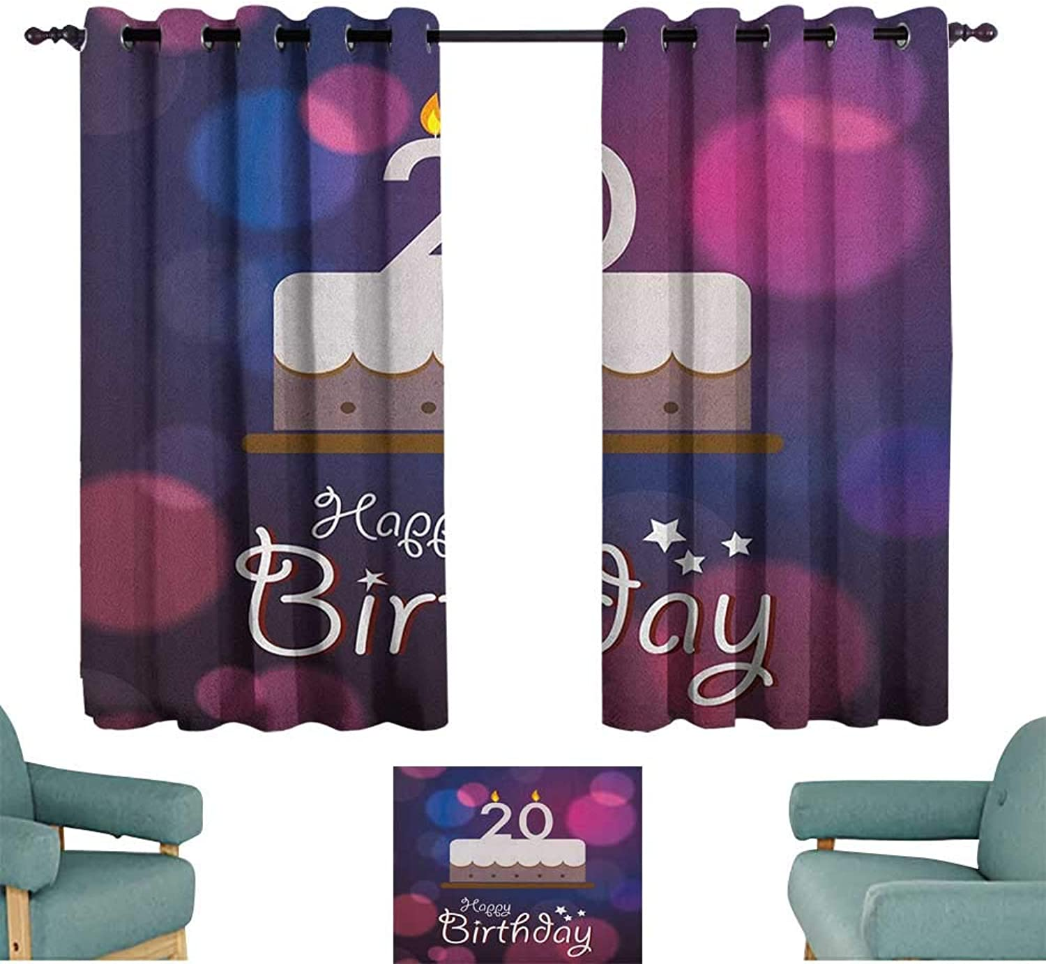 Sanring 20th Birthday,Window Curtain for Living Room Twenty Years Old Birthday Cake Cartoon Design on Navy bluee Backdrop 42 X63  Drapes for Kids Living Room
