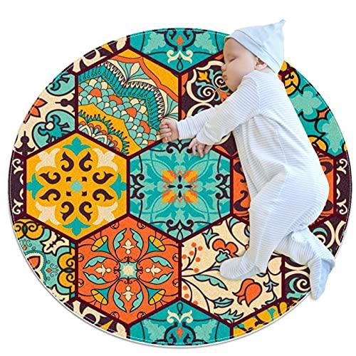 Alfombra Suave Redonda 70x70cm/27.6x27.6IN Alfombrillas Circulares Antideslizantes para el Suelo Alfombrilla para pie de Esponja Absorbente,Azulejo de cerámica de mayólica