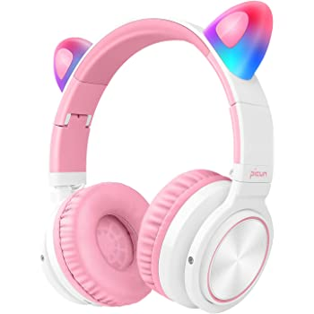 Picun Bluetooth Headphones Over Ear, 40H Playtime Wireless Headphones On Ear Cat Ear LED Light Up with MIC and Volume Control Fodable Headset for Kids Girls Support Wired/Wireless/TF (White Pink)