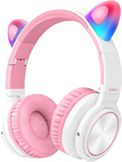 Picun Kids Bluetooth Headphones Cat Ear with LED Light Up, 40H Playtime Wireless Headphones Over Ear for Girls, Volume Control Wireless/Wired/TF Fodable Headset for Children Adult Women White Pink