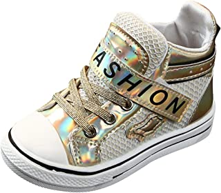 Kauneus🍭 Kids Boys Girls Fashion Trend Sequin High Top Sport Shoes/LED Light Up Flashing Sneakers for Children Shoes