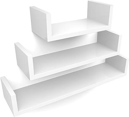 SONGMICS Wall Shelf Set of 3 Floating Shelves Storage 60 45 30 cm MDF Weight Capacity 15 kg White LWS66W