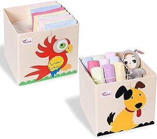 SITAKE Lot de 2 Coffre a Jouet avec Couvercle - 33 * 33 * 33 cm Boîte de Rangement Enfants - Enfants Cube de Rangement pou...
