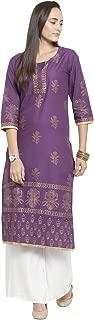 Ekaa Women'S Cotton Hand Block Printed Three Quarter Straight Kurta (1162_Purple)