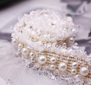 Bella 2 Yard Bordures a Perl/ées Pompon Vintage Jacquard Galon /à Frange Rouleau /à Perles Dentelle D/écoration /Él/égant Trim DIY Craft D/écoration pour Robe Chemise Cadeau