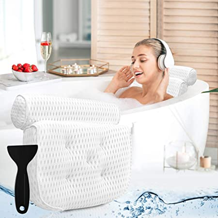Luxury Non Slip Bathtub Support for Head Bath Spa Pillow with Suction Cups Fits All Hot Tub Shoulder and Back for Ultimate Relaxation Jacuzzi /& Standard Tubs /¡/ Anti Mold//Mildrew Whirlpool Neck