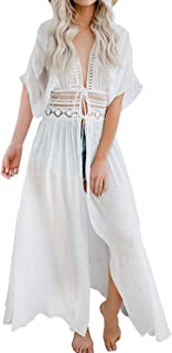 Womens Long Tie Front Kimono Lace Cover Up Maxi Bikini Beach Cardigan Embroidery Waistband