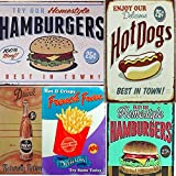 SARED Lot de 5 Affiches en Plaque métal Vintage Resto Américain Resto, Hot Dogs, Humburgers, Fries...