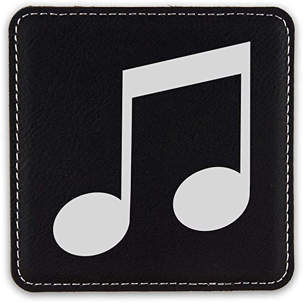 Music Note Drink Coaster Leatherette Coasters Type A Black Silver One Coaster